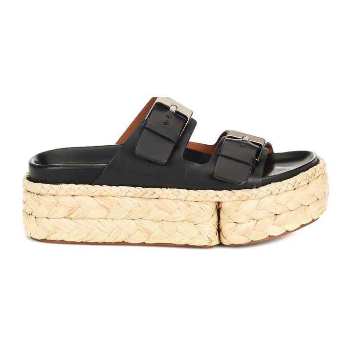 Abby Double Buckle Leather Flatform Slides