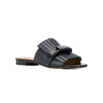Angela Fringed Flat Leather Slides