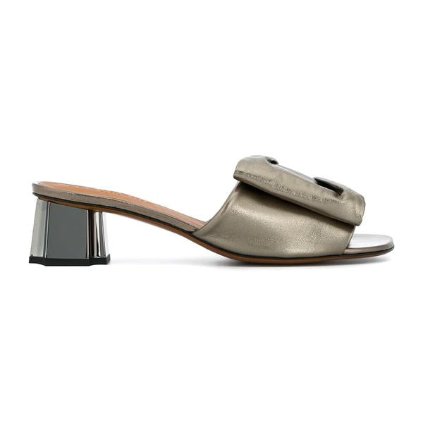 Lendy metallic leather mules
