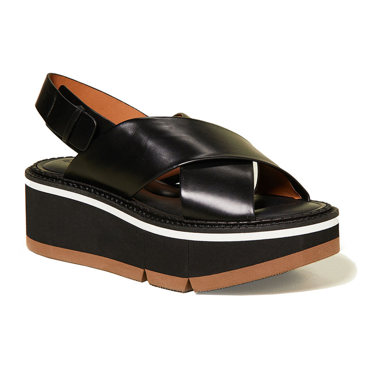 Anae micro-block leather flatforms