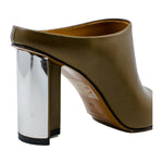 Angel opentoe calf leather mid heel slides