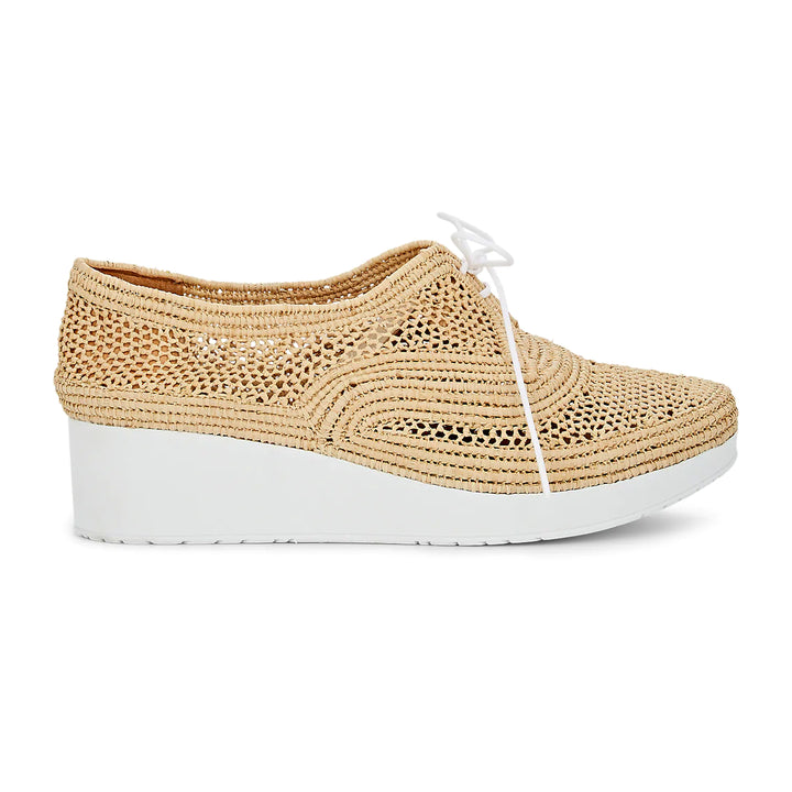 Vicole woven raffia leather flatforms