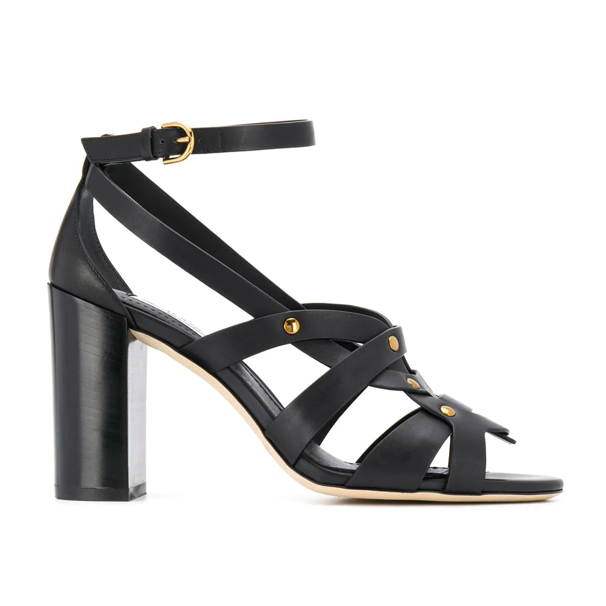 Embossed Strappy Mid Heel Sandals