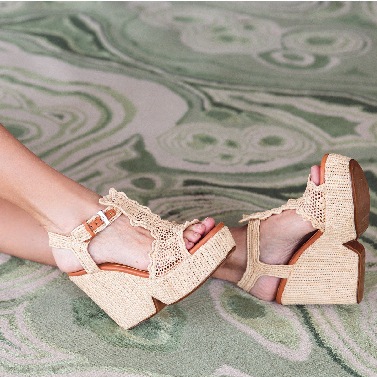 Dara Natural Raffia High Platform Wedges