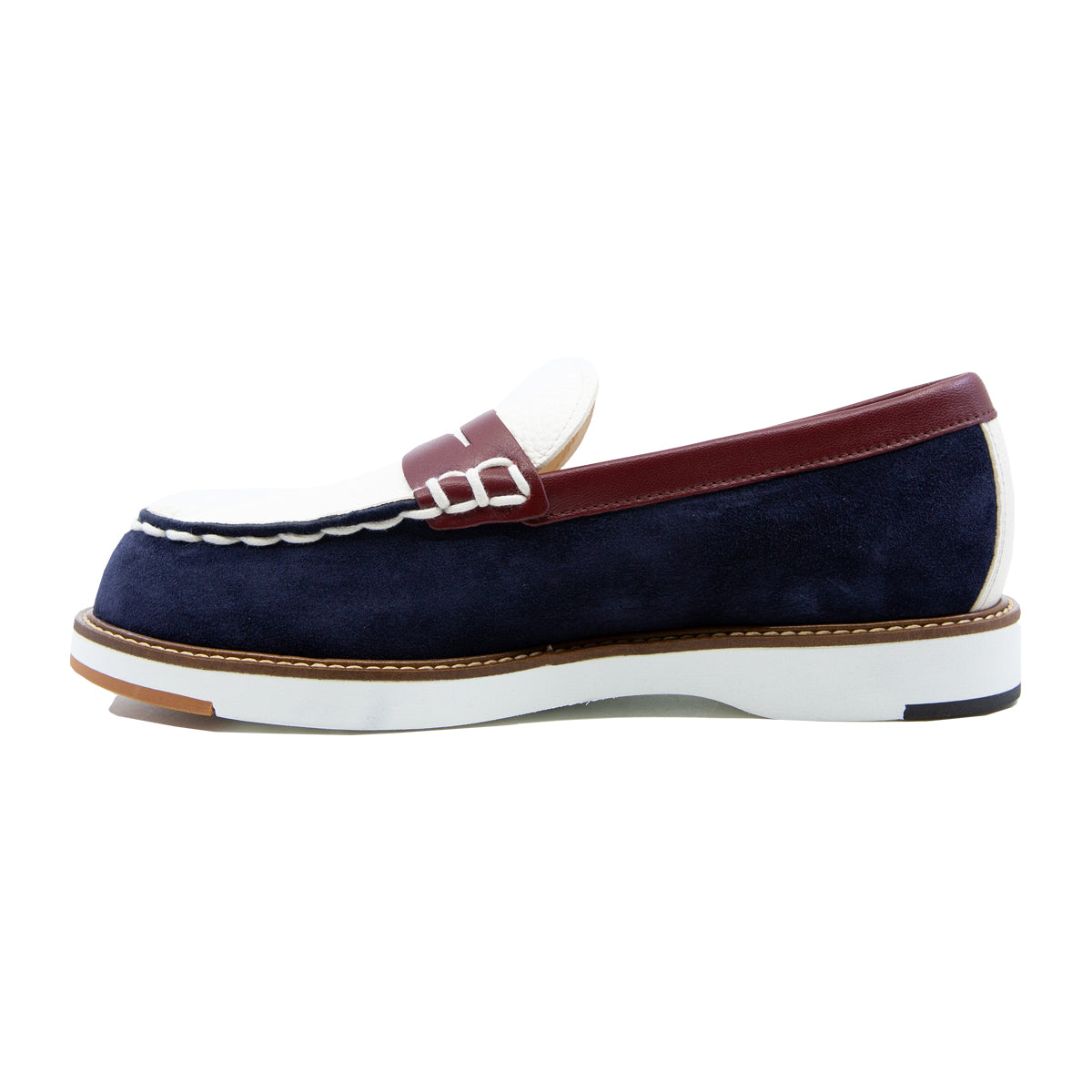 Rubber Sole Multi Tone Slip On Loafers
