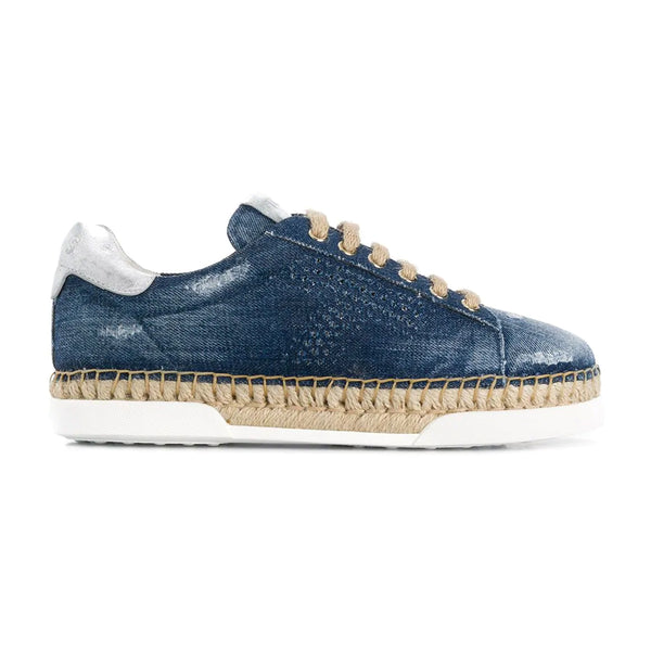 T Distressed Denim Espadrille Trimmed Sneakers