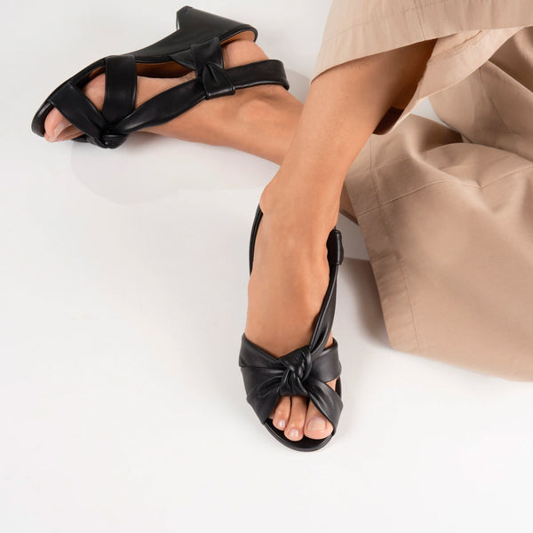 Doha Leather Plexi Wedge Sandals