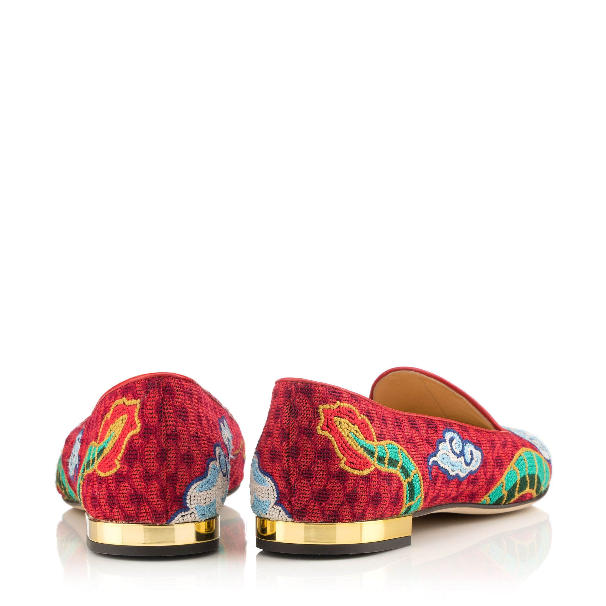 Dragon Embroidered Canvas Loafers