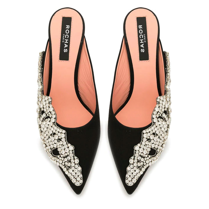Pointed Embellished Mid Heel Mules