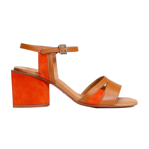 Enora Block Heel Leather Sandals
