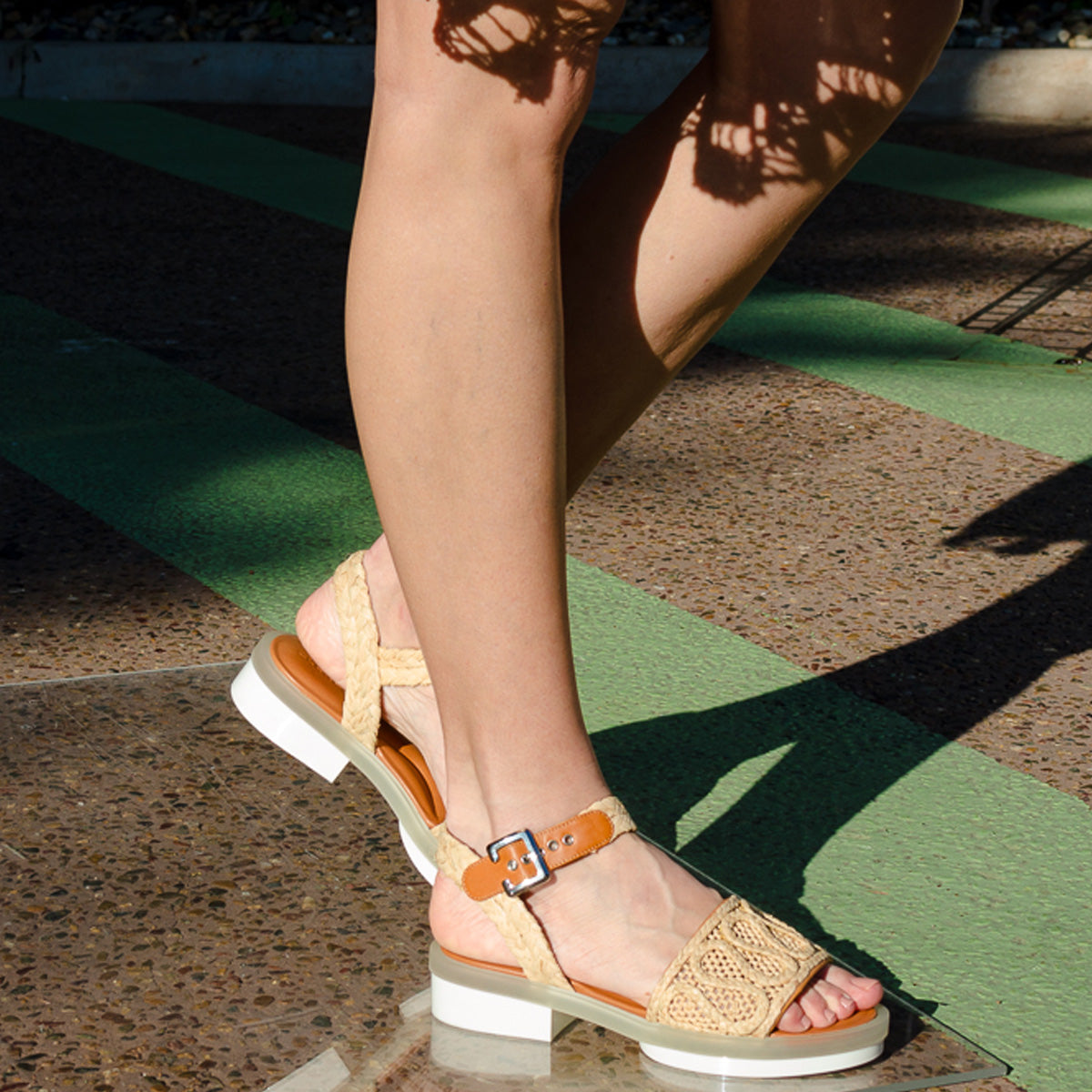 Felipie Raffia Gel Sole Sandals