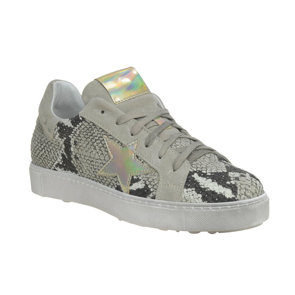 Flash Laceup Snakeskin Sneakers