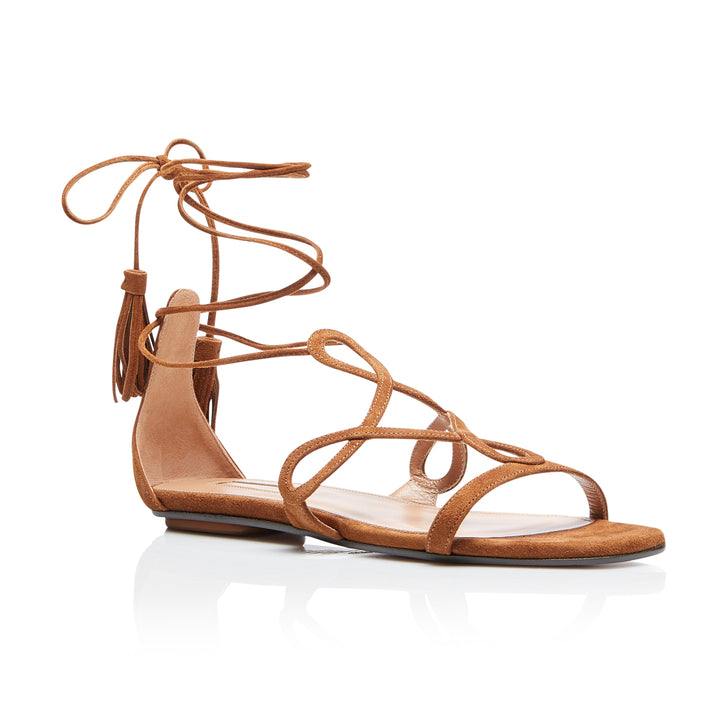 Gitana Tie Up Flat Suede Sandals