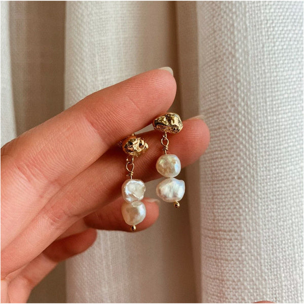 Meteor Pearl Mini Drop Gold Plated Earrings