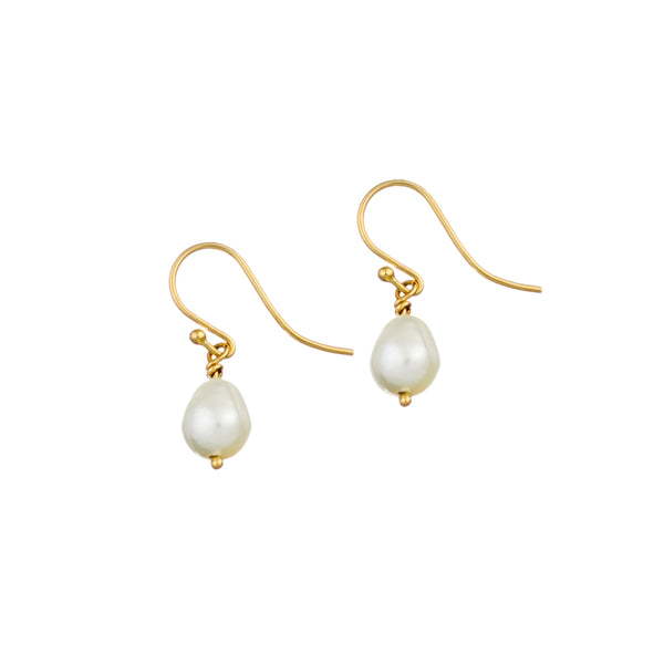 9ct Yellow Gold Shepherds Hook Pearl Earrings
