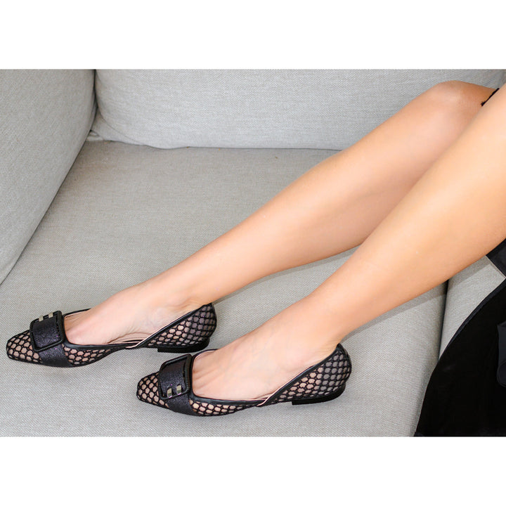 Honeycomb Buckle Ballet Flats