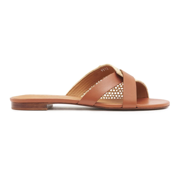 Ida Raffia and Leather Flat Slides