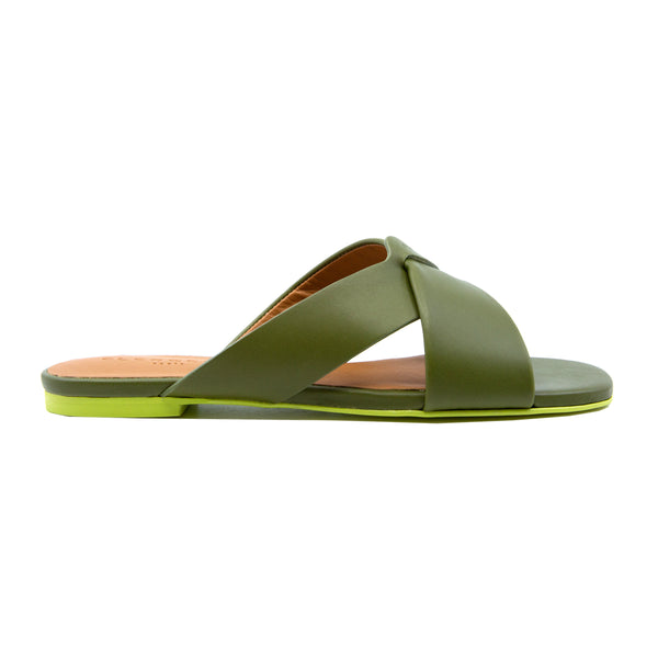 Issy Crossover Flat Leather Slides with Rubber Sole