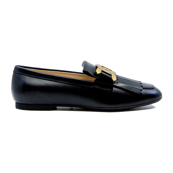 Kate Chain Link Rubber Sole Leather Loafers