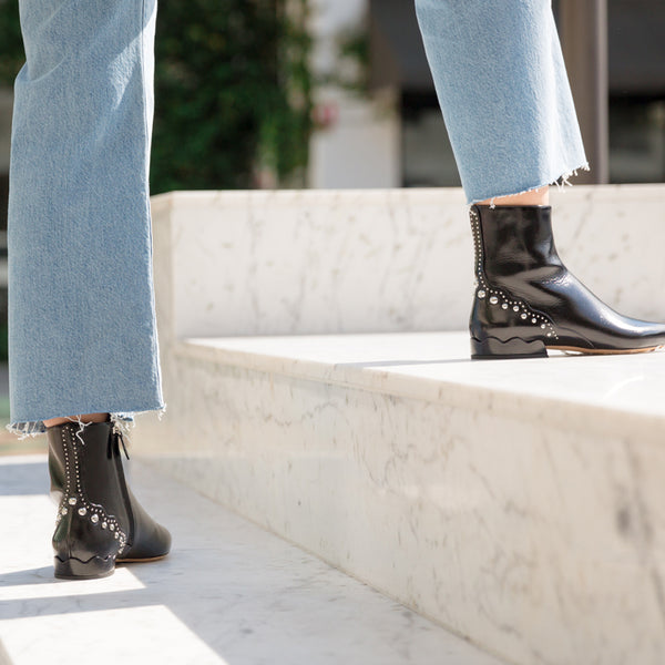Laurena Patent Leather Studded Ankle Boots