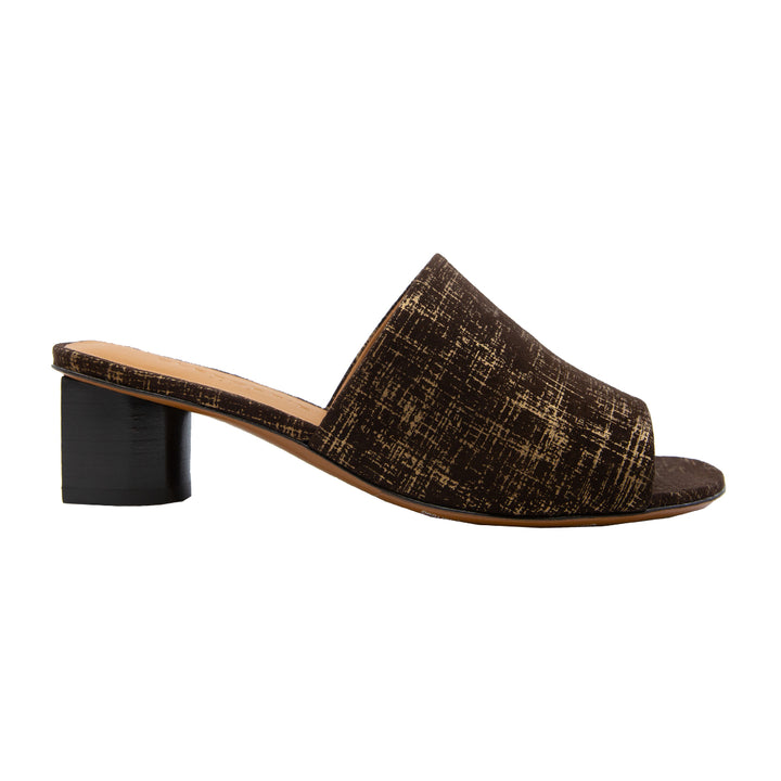 Leo Graphic Leather Mid Heel Slides