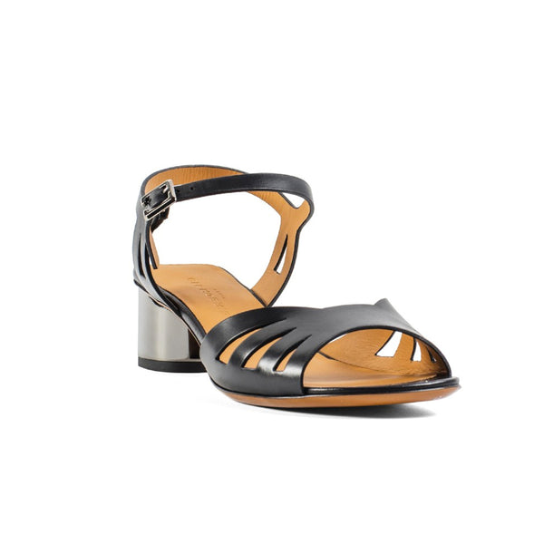 Lili Silver Block Heel Leather Sandals
