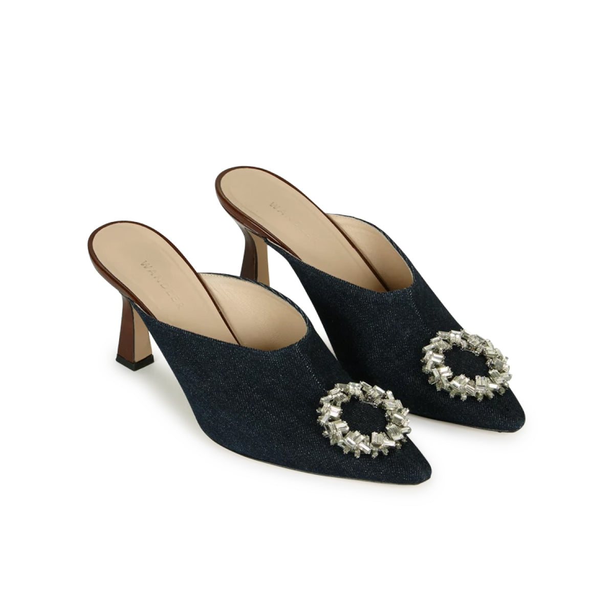 Lotte Crystal Denim Mules