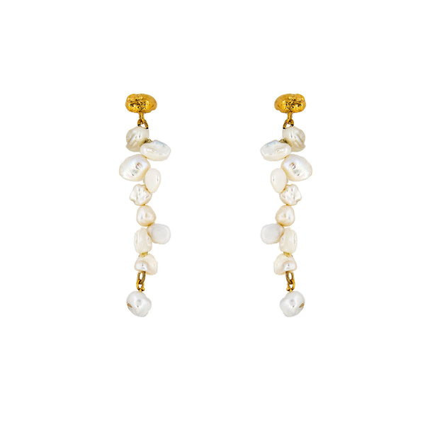 Meteor Pearl Single Drop Gold Plated Earrings