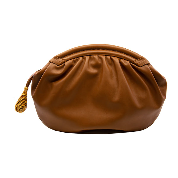 Millie Ruched Round Soft Leather Clutch