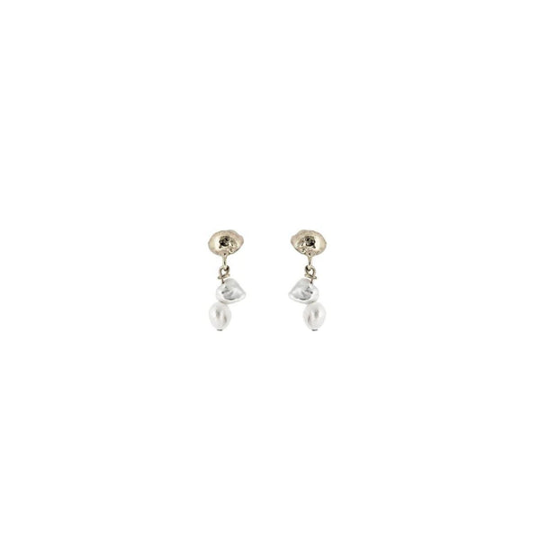 Meteor Pearl Mini Drop Sterling Silver Earrings