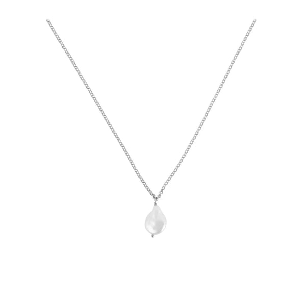 Misshapen Beauty Pearl on Sterling Silver Chain Necklace