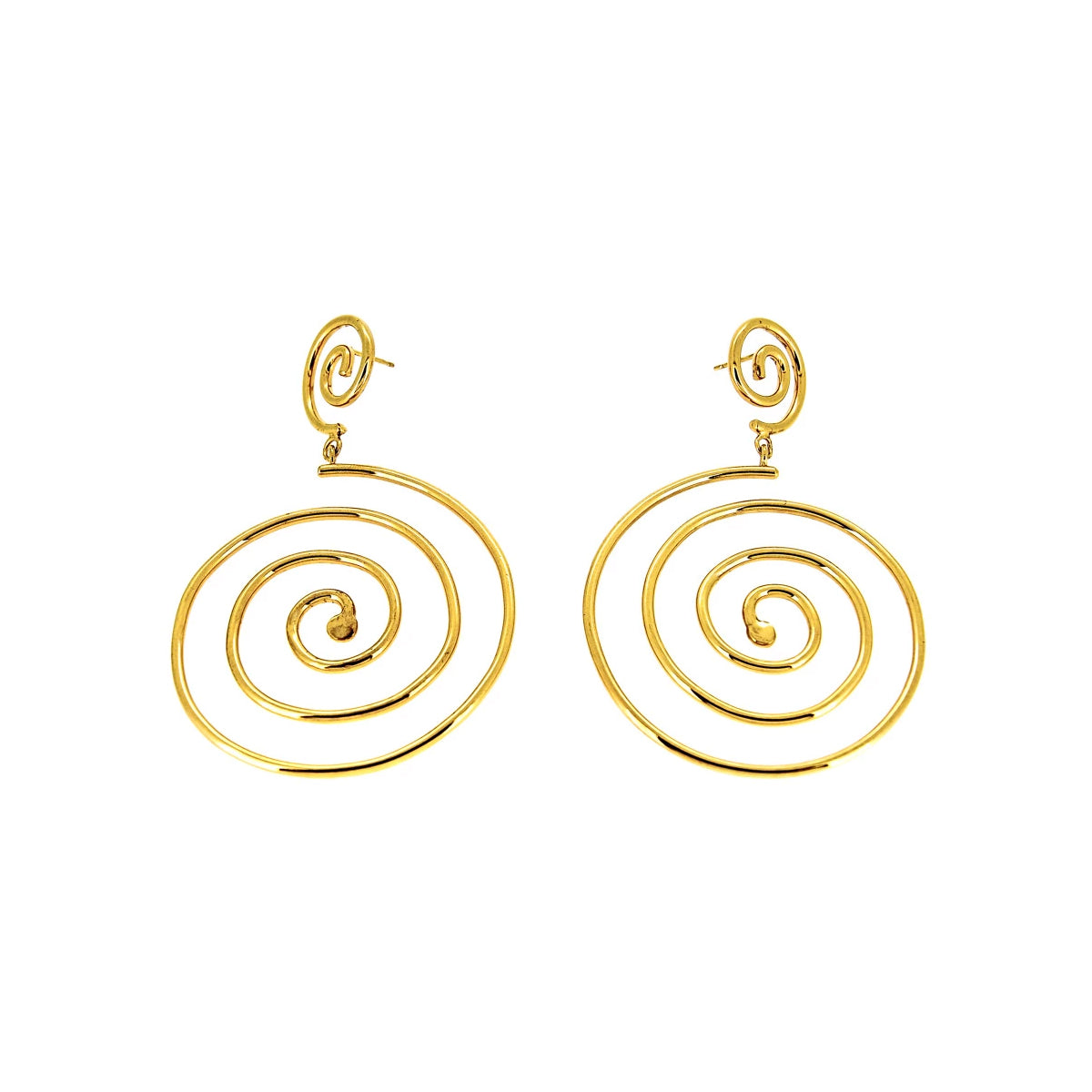 Muriel Double Spiral Gold Plated Earrings