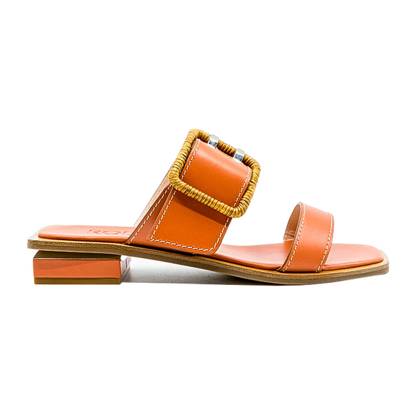 Wicker Buckle Double Strap Slides