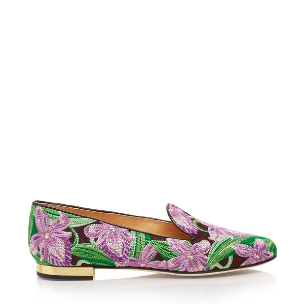 Orchid Embroidered Canvas Loafers