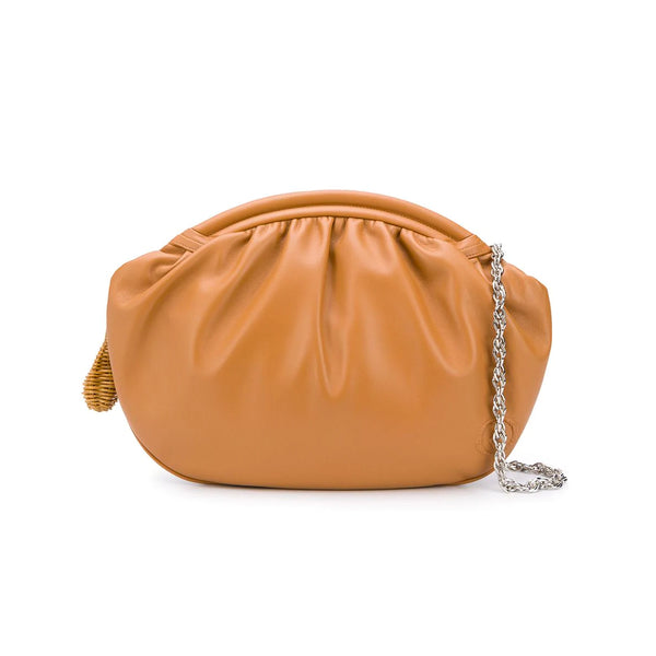 Round Leather Oversized Clutch with Chain