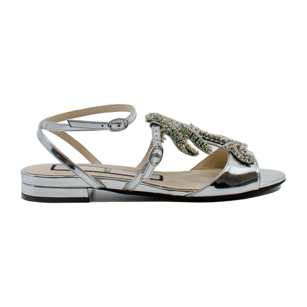 tess jewelled palm metallic flat sandals