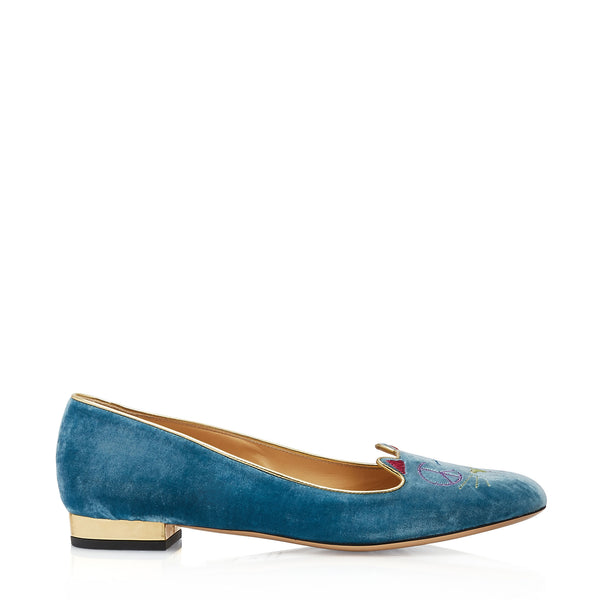 Peace Kitty Velvet Loafers