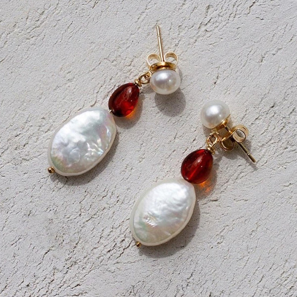 Amber and Keshi Pearl Drops 9ct Yellow Gold