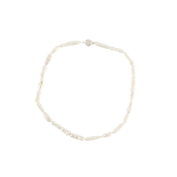 Misshapen Long Pearl Choker 9ct Yellow Gold