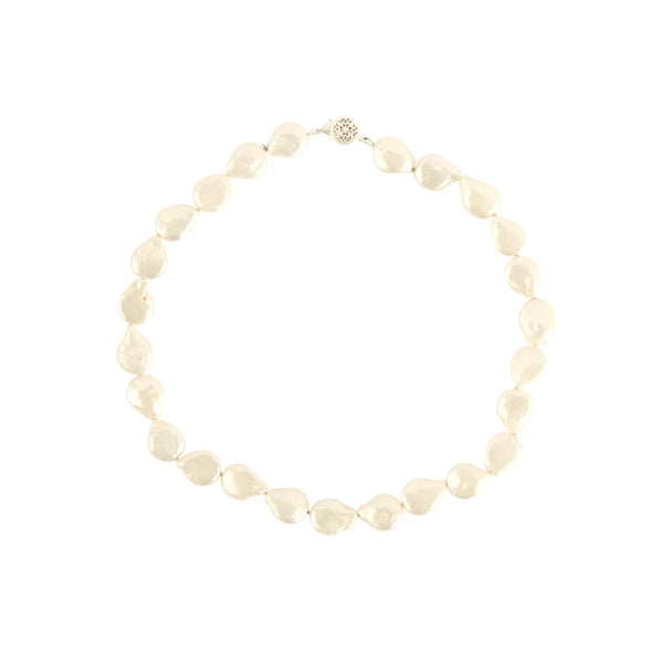 Misshapen Flat Pearl Choker 9ct Yellow Gold