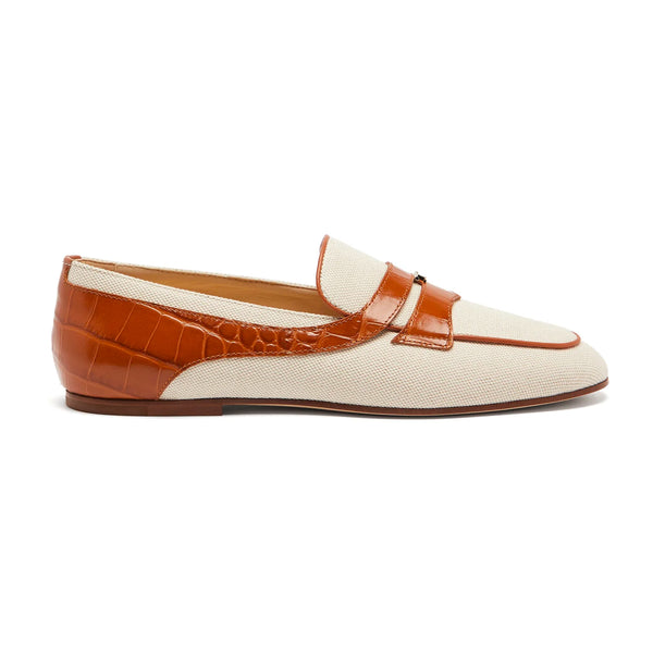Contrast Linen and Leather Trimmed Loafers