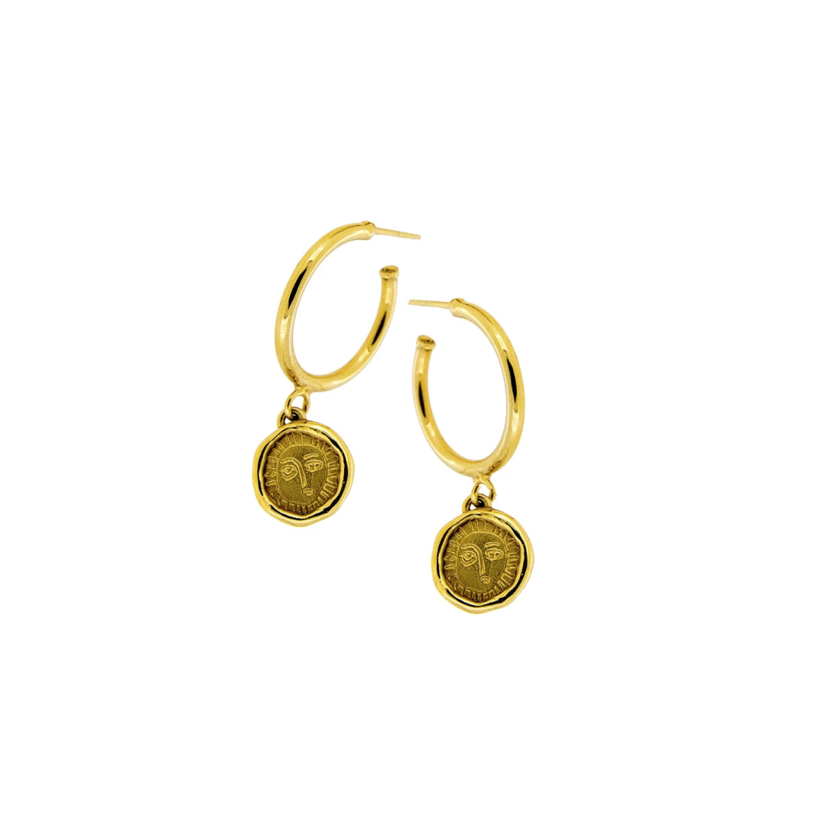 Picasso Coin Gold Plated Hoop Earrings