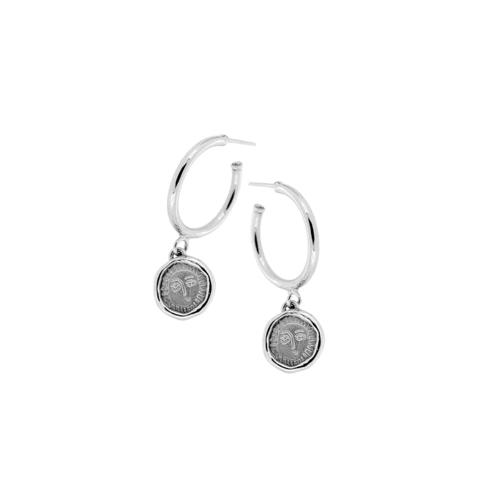 Picasso Coin Silver 925 Hoop Earrings