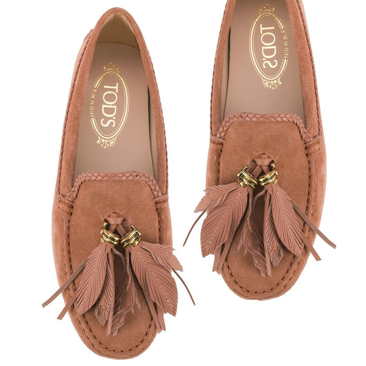 multi feather suede gommini loafers