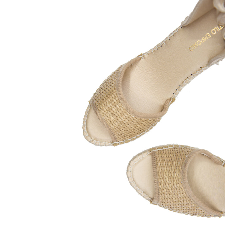 Rattan Open-Toe Espadrille Wedges