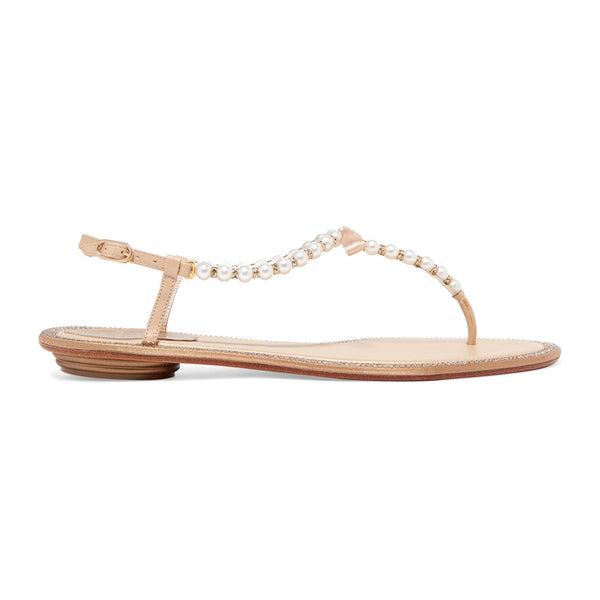 Eliza Pearl Embellished T-Bar Flat Sandals