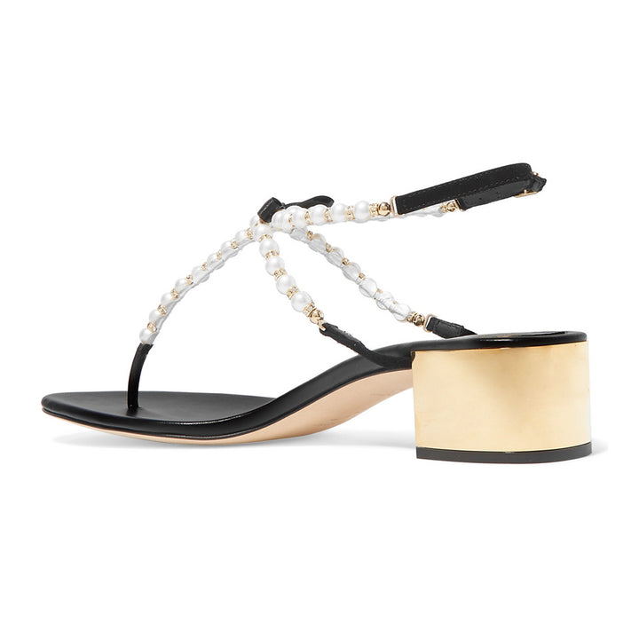 Eliza 40 Pearl Embellished T-Bar Mid Heel Sandals