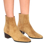 Block Heel Pull On Suede Rubber Sole Ankle Boots