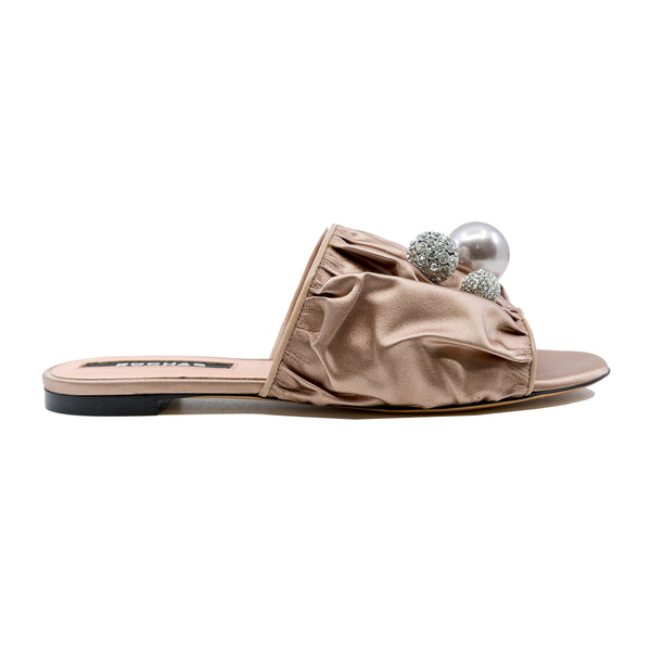 Ruched Embellished Flat Slides