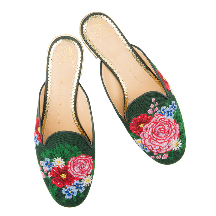 Rose Garden Embroidered Canvas Mules